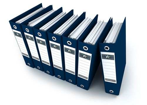 3D rendering of a row of blue ring binders against a white background